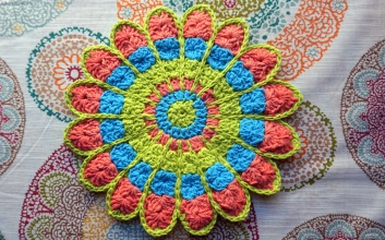 Lily Sugar n' Cream - Mandala Pot Holder Pattern by Willow Yarns Design Team - Cera Boutique 2016